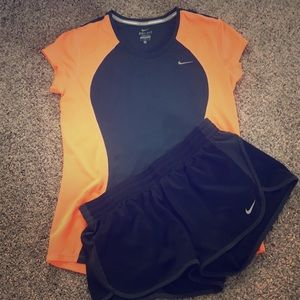 Nike dry fit shirt and shorts - size medium